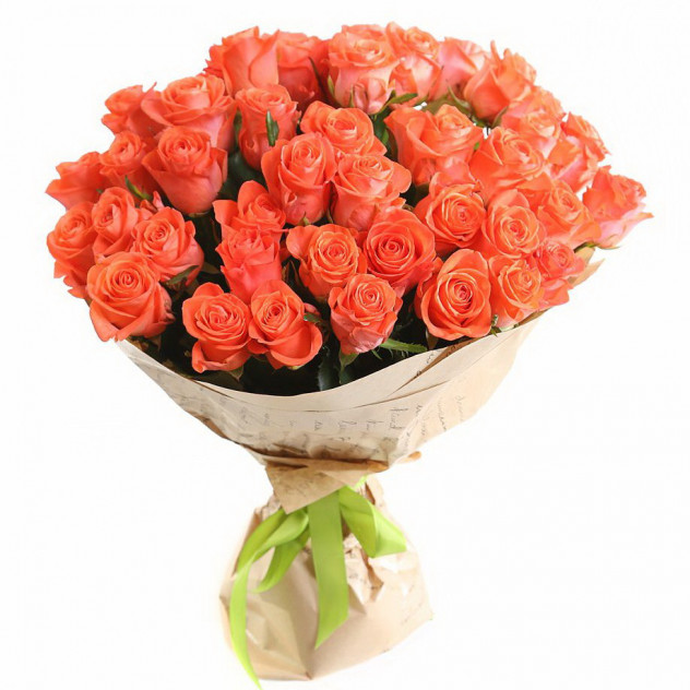 Букет из 51 оранжевой розы в крафте
